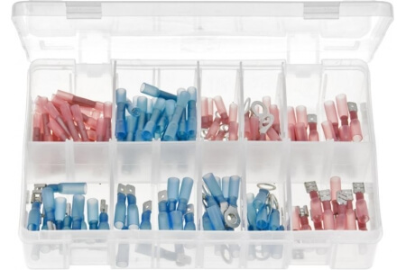 Assorted Box of Heat Shrink Terminals, Adhesive Lined - Red & Blue