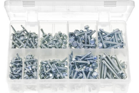 Assorted Box of Self-Drilling Screws Hex Head
