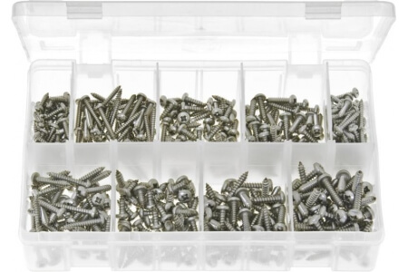 Assorted Box of Stainless Steel Self-Tapping Screws Pan Head - Pozi